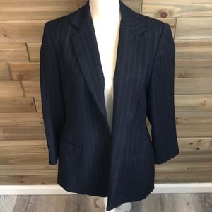 Lord & Taylor Navy Wool Two Button Blazer Size 8